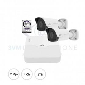 Kit IP 2Mpx NVR 4Ch Poe + 2 Bullet + Hard Disk UNEASYKIT23