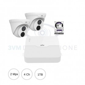 Kit IP 2Mpx NVR 4Ch Poe + 2 Dome + Hard Disk UNEASYKIT23D UNIVIEW